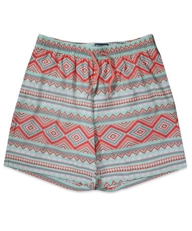 BURLEBO Aztec Swim Trunks - Front Peach/ Blue