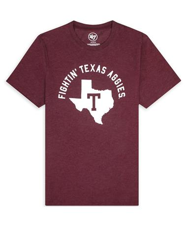 Texas A&M `47 Brand Fightin` Texas Aggies Vault Club Tee - Front Dark Maroon
