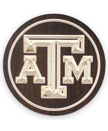 Texas A&M 2 Pack Wooden Coasters - Front BROWN