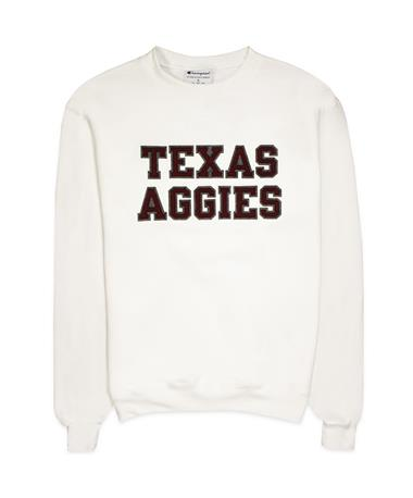 Texas A&M Aggies Champion Powerblend Crew - White - Front White