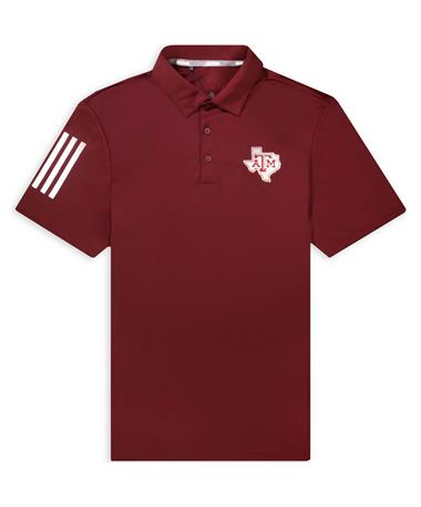 Texas A&M Adidas Lone Star 3 Stripe Polo