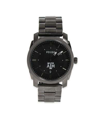 Texas A&M Fossil Men`s Stainless Steel Watch-Front Grey/Black