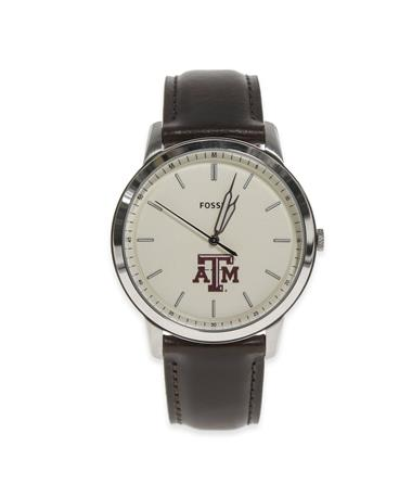 Texas A&M Fossil Men`s Brown Leather Watch-Front Brown