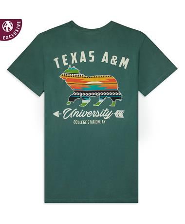 Texas A&M Aggies Aztec Reveille T-Shirt-Back C1717 Emerald
