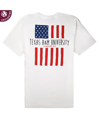 Texas A&M American Flag T-Shirt - White - Back 6030CC White