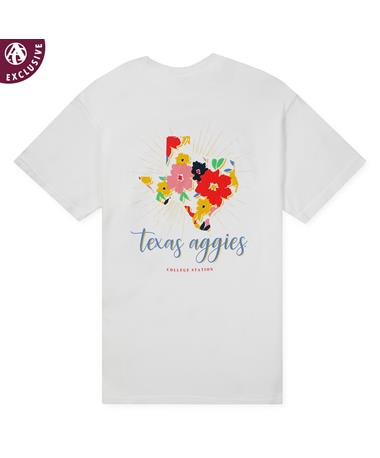 Texas A&M Aggies Summer Floral T-Shirt - White - Back C1717 White