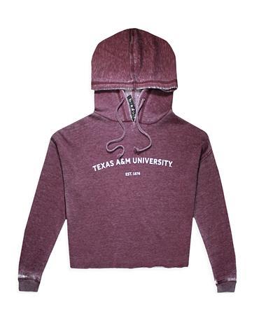 Texas A&M Campus Burnout Wash Hoodie - Merlot - Front Merlot