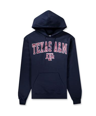 Texas A&M Champion Powerblend Hoodie-Front Navy