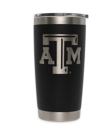 Texas A&M Yeti 20oz Black Tumbler - Front Black