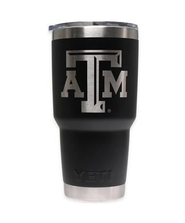 Texas A&M Yeti 30oz Black Tumbler - Front Black