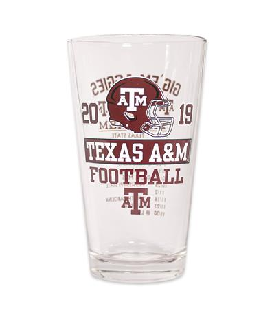 2019 Texas A&M Football Schedule Glass - Front Clear/ Maroon