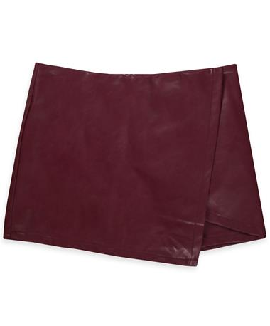 FAUX LEATHER ASYMMETRICAL SKIRT-Front WINE
