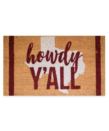 Maroon Howdy Y`all Texas Coir Doormat - Front Maroon/White