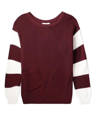 Maroon Whitney Sweater With Pockets-Front MAROON