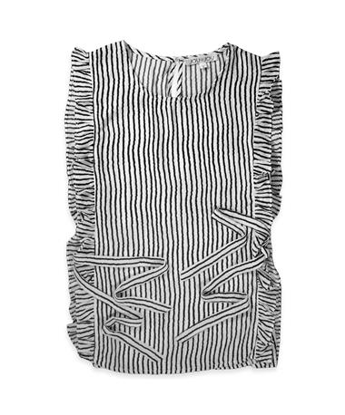 Joy Joy Black & White Striped Sleeveless Blouse - Front Black Stripe