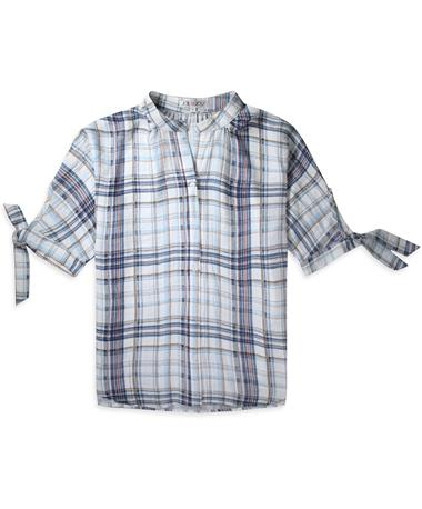 Joy Joy Blue Plaid Button Down - Front Blue Plaid