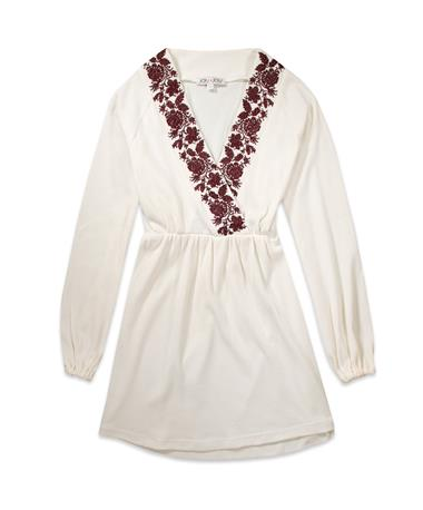 Maroon Joy Joy Cross Stitch Embroidered Tunic - Ivory - Front Ivory/S Mar