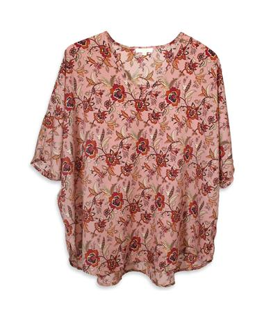 Blush Jade Swiss Floral V-Neck Blouse - Front Blush