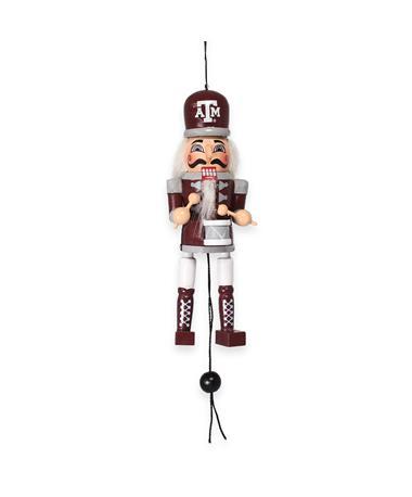 Texas A&M Nutcracker Pull String Wooden Ornament - Front MULTI