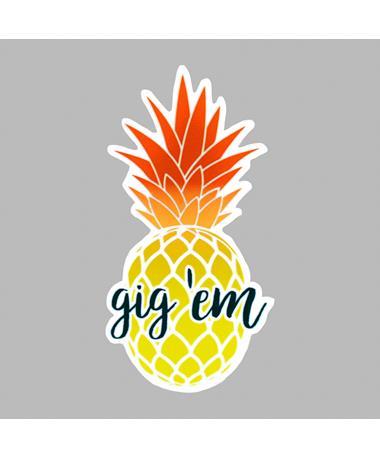 Gig 'Em Pineapple Dizzler Sticker