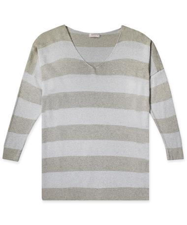 Striped Sparkly Long Sleeve Top