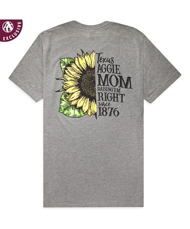 Texas A&M Sunshine Mom Texas Aggies Tee-Back Bella Canvas 3413C- Grey Tribl