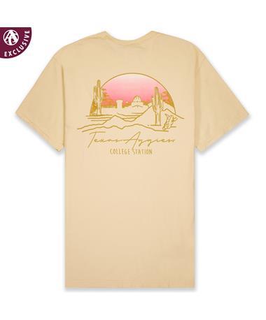 Texas A&M Aggies Pink Sunrise T-Shirt - Back C1717 Ivory