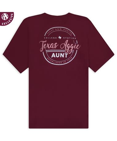 Texas A&M Aggie Aunt Cursive T-Shirt