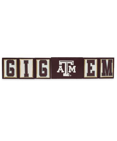 Texas A&M Gig `Em Wooden Blocks - Front Maroon