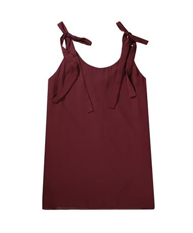 Maroon Sleeveless Adjustable Tie Swing Dress - Burgundy - Front Burgundy