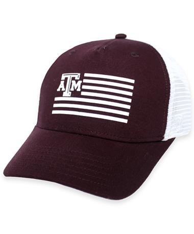 Texas A&M Maroon American Flag Mesh Back Cap