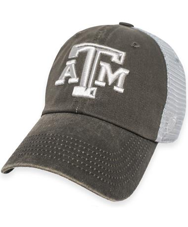 Texas A&M Tracks Trucker Mesh Back Cap Washed Charcoal