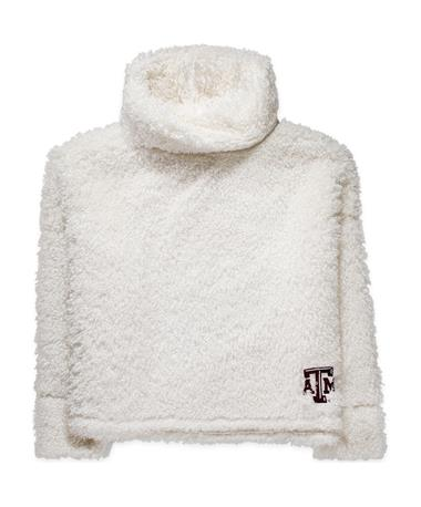 Texas A&M Cozy Funnel Neck Pullover-Front WHITE