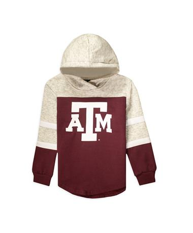 Texas A&M Girl`s Colosseum  Block ATM Fleece Hoodie-Front MAROON/GREY