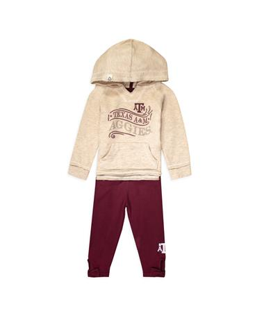 Texas A&M Colosseum Youth Girl Terry Hoodie Set OATMEAL/MAROON