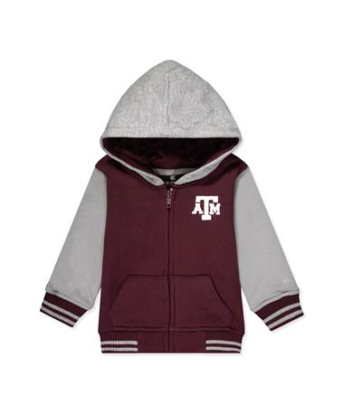 Texas A&M Infant Boys Gonzo Full Zip Jacket-Front MAROON