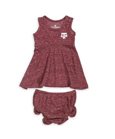 Texas A&M Aggies Colosseum Snorkasaurus Dress & Bloomers Set - Set - Front Maroon