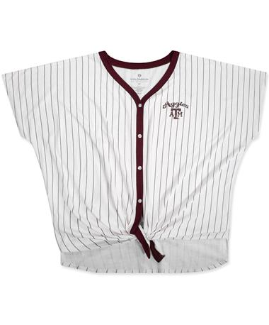 Texas A&M Colosseum Playground Striped Button Tee - Front White/Maroon