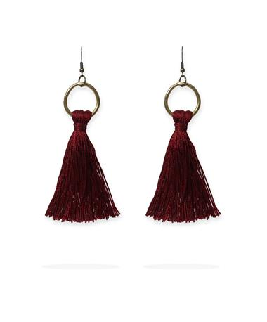 Long Maroon Tassel Hoop Top Earring Maroon
