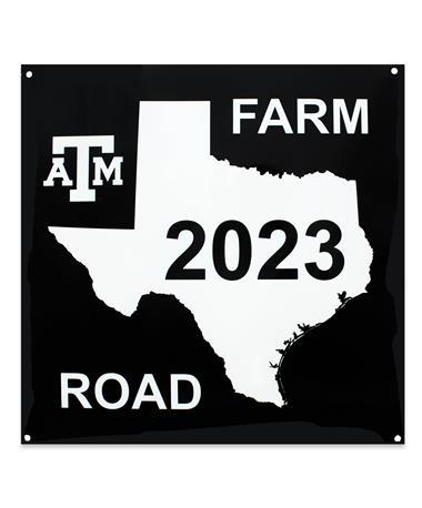 Texas A&M 2023 Texas ATM Farm Road Sign-Front Black/ White