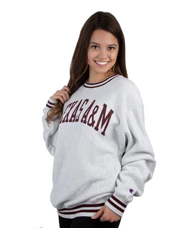 Texas A&M Champion Reverse Weave Crew - Angle Grey