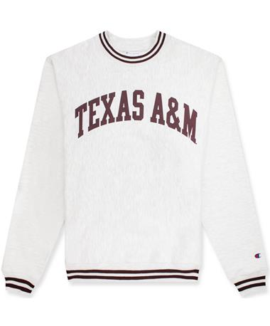 Texas A&M Champion Unisex Reverse Weave Crew - Front Grey