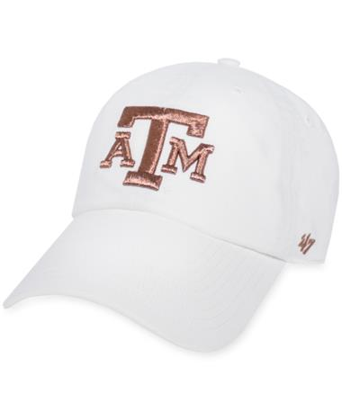 Texas A&M `47 Brand Rose Gold Clean Up Cap - Front White