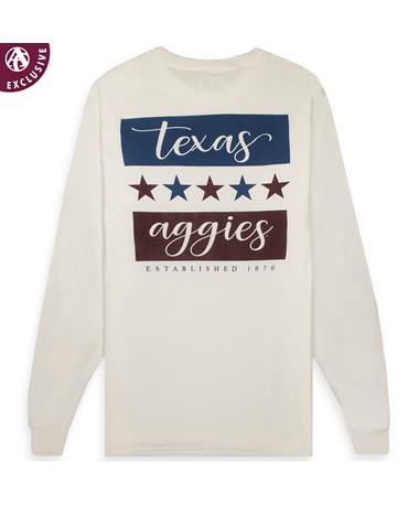 Texas A&M Aggies Stars Long Sleeve T-Shirt - Back C4410 White