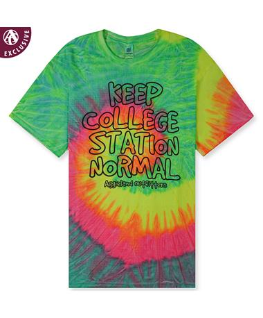 Keep College Station Normal Tie Dye T-Shirt - Front CD100 Neon Rainbow