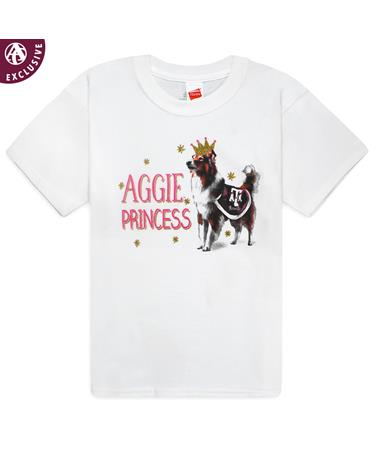 Texas A&M Reveille Aggie Princess Youth T-Shirt C9018 White