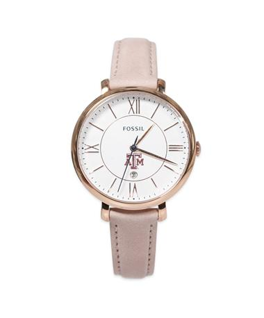 Texas A&M  Fossil Women`s Blush Leather Watch-Front Pink