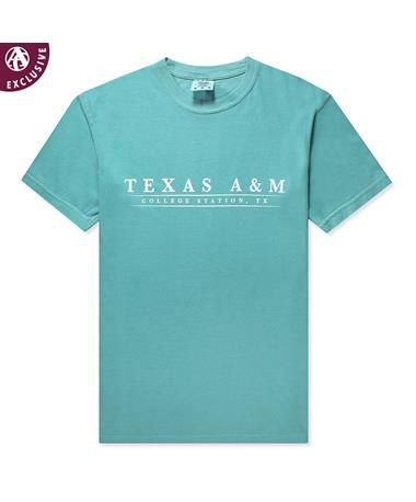 Texas A&M Basic Bar T-Shirt-Front C1717 Seafoam