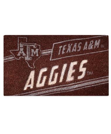 Texas AM Coir Punch Mat- Maroon