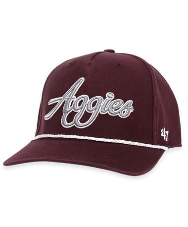 Texas A&M Aggies Overhand Script `47 MVP Rope Cap-Front Maroon